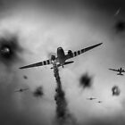 Dakotas at Arnhem, black and white version by Gary Eason + Flight Artworks