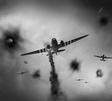 Dakotas at Arnhem, black and white version by Gary Eason + Flight Artworks