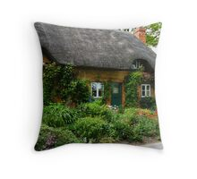 A Cottage with Flowers Throw Pillow