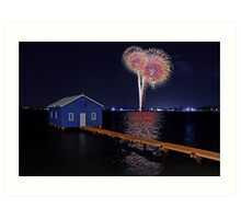 Crawley Edge Boatshed Fireworks Art Print
