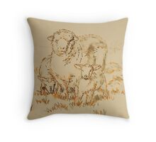 Sheep and Lamb drawing Throw Pillow