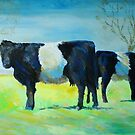 Belted Galloway Cows Painting by MikeJory