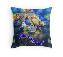 Lots of Fishy Tails birthday card Throw Pillow