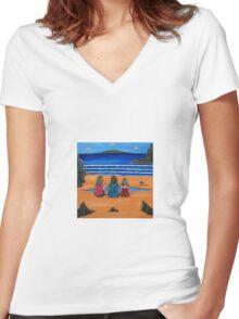Girl Talk Women's Fitted V-Neck T-Shirt