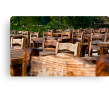Empty Wooden Chairs and Tables Canvas Print