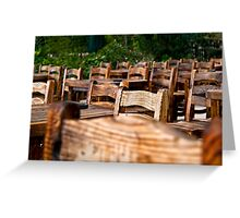 Empty Wooden Chairs and Tables Greeting Card
