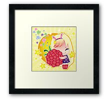 Cute little girl with a raspberry  Framed Print
