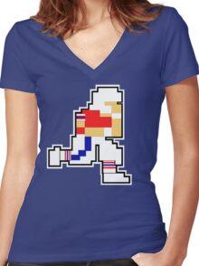 Nintendo Tecmo Bowl New England Patriots Tom Brady Women's Fitted V-Neck T-Shirt