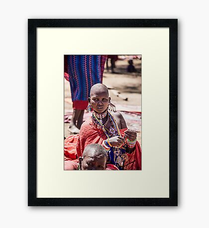 Masai woman adorned with jewellery Framed Print