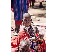 Masai woman adorned with jewellery Photographic Print
