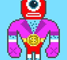 Pixel Luchador - Cyclops by Oleg Milshtein