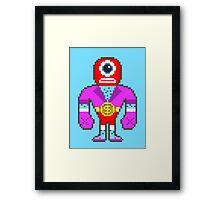 Pixel Luchador - Cyclops Framed Print