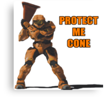 Red vs Blue - Protect Me Cone Canvas Print