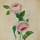 Peach, Pink & Gypsophila #1 Floral Painting by Jewel  Charsley