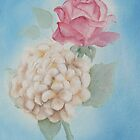 Pink Rose, White Hydrangea #2 by Jewel  Charsley
