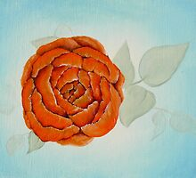Orange on Blue floral painting #1 by Jewel  Charsley