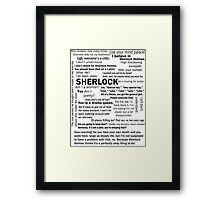Sherlock Season 3 Quotes Framed Print