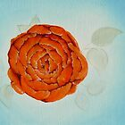 Orange on Blue floral painting #2 by Jewel  Charsley