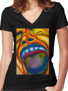 Screaming Man Women's Fitted V-Neck T-Shirt