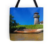Guatemala. Atlantic Coast. Lighthouse and Boat. Tote Bag