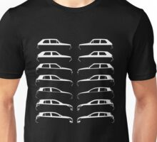 Silhouette Volkswagen VW Golf Mk1-Mk7 Left and Right White Unisex T-Shirt