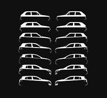 Silhouette Volkswagen VW Golf Mk1-Mk7 Left and Right White Unisex T-Shirt