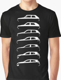 Silhouette Volkswagen VW Golf Mk1-Mk7 Left White Graphic T-Shirt