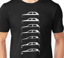 Silhouette Volkswagen VW Golf Mk1-Mk7 Left White Unisex T-Shirt
