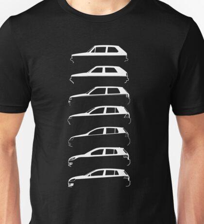Silhouette Volkswagen VW Golf Mk1-Mk7 Left White Unisex T-Shirt