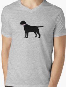 Black Lab Preppy Silhouette Mens V-Neck T-Shirt