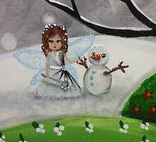 fairy and a snowman by BeckaJane