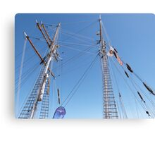 Twin Masts of 'One & All' training sailing, Port Adelaide. S.A. Canvas Print