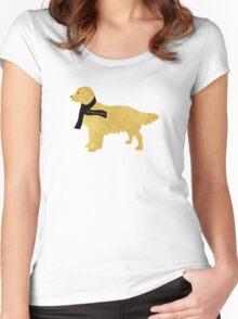 Preppy Golden Retriever - Black Winter Scarf Women's Fitted Scoop T-Shirt