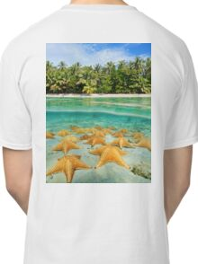 tropical shore split with sea stars underwater Classic T-Shirt