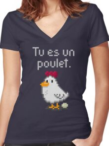 You are a chicken - light text Women's Fitted V-Neck T-Shirt