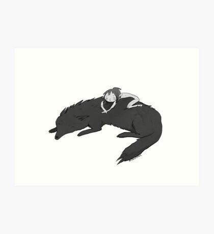 Wild girl sleeping Art Print