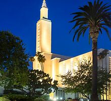 Los Angeles California Temple - Night by the Palm Tree 16x20 by Ken Fortie