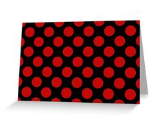 Polka Dots, Spots (Dotted Pattern) - Red Black Greeting Card