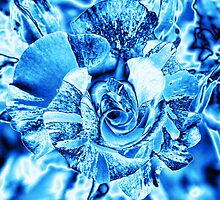 Blue and Turquoise Ice Rose by stine1
