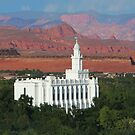 St. George Utah Temple - Red Mountains 20x16 by Ken Fortie