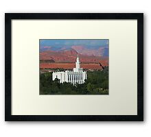 St. George Utah Temple - Red Mountains 20x16 Framed Print