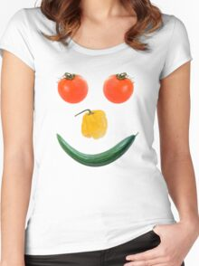 Smiley salad face Women's Fitted Scoop T-Shirt