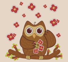 Flower Owl .. tee shirt by LoneAngel
