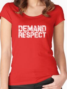 Demand Respect - Scratch White Women's Fitted Scoop T-Shirt