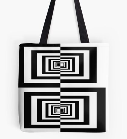 Black And White Geometric Rectangles Tote Bag