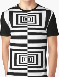 Black And White Geometric Rectangles Graphic T-Shirt