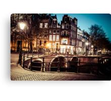 Amsterdam at night Canvas Print
