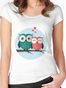 Lovers owls Women's Fitted Scoop T-Shirt