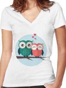 Lovers owls Women's Fitted V-Neck T-Shirt