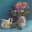 Still life with creamer and faux flowers by Pam Humbargar